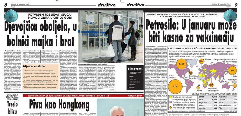 """Stranica """"Vijesti"""" od 9. novembra 2019."""