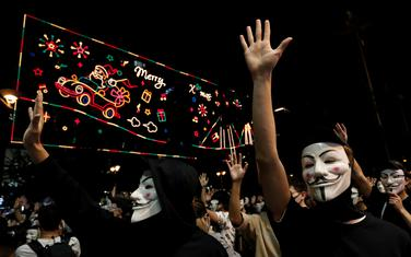 Detalj sa demonstracija u Hong Kongu