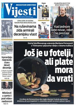 """Naslovna strana """"Vijesti"""" za 9. novembar 2019."""