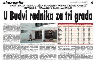 """Stranica """"Vijesti"""" od 9. novembra 2009."""
