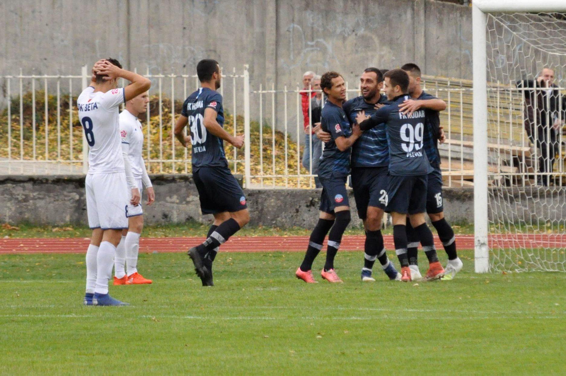 Slavlje igrača Rudara nakon gola protiv Zete