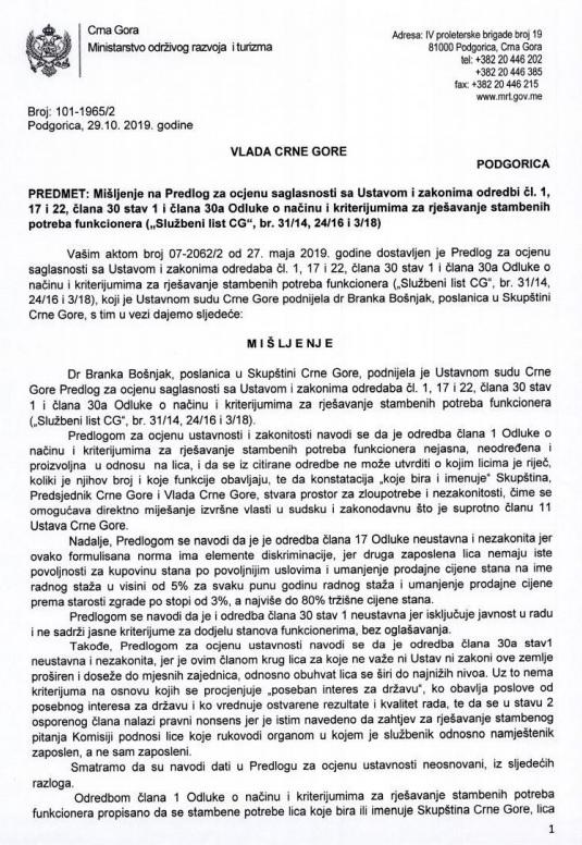 Mišljenje Vlade na inicijativu Branke Bošnjak