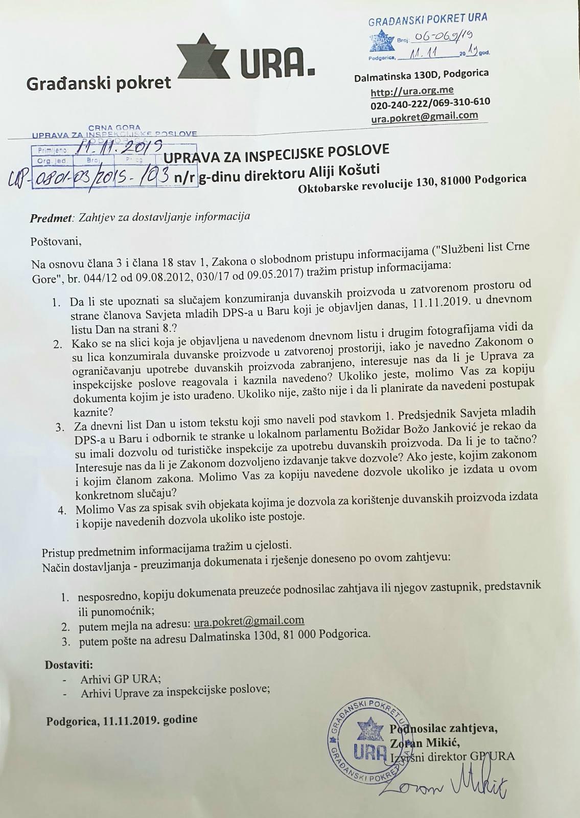GP URA dopis