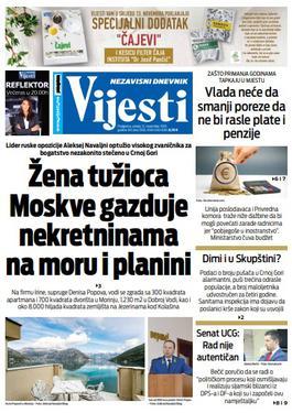 """Naslovna strana """"Vijesti"""" za 12. novembar 2019."""