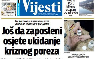 """Naslovna strana """"Vijesti"""" za 14. novembar 2019."""