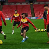Crnogorski  fudbaleri na sinoćnjem treningu u Londonu