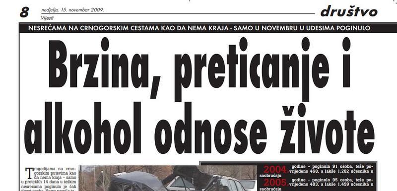 """Stranica """"Vijesti"""" od 15. novembra 2009."""
