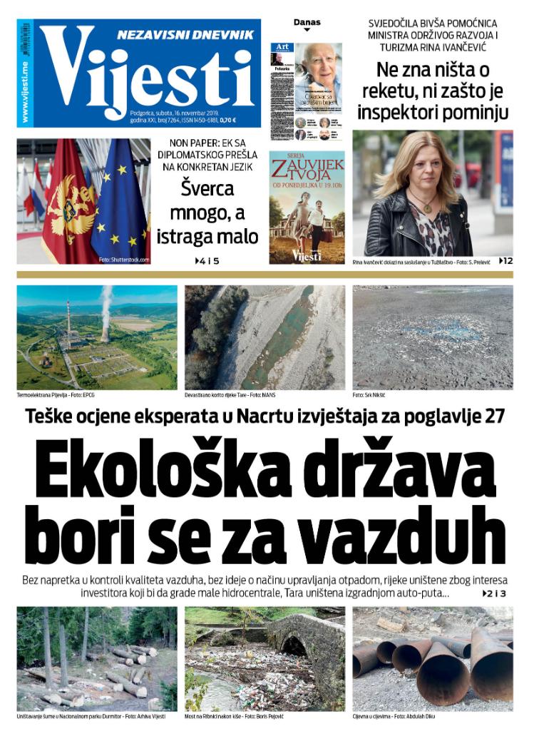 """Naslovna strana """"Vijesti"""" za 16. novembar 2019."""