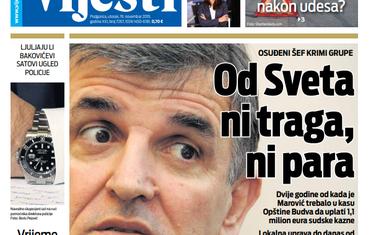"""Naslovna strana """"Vijesti"""" 19.11."""