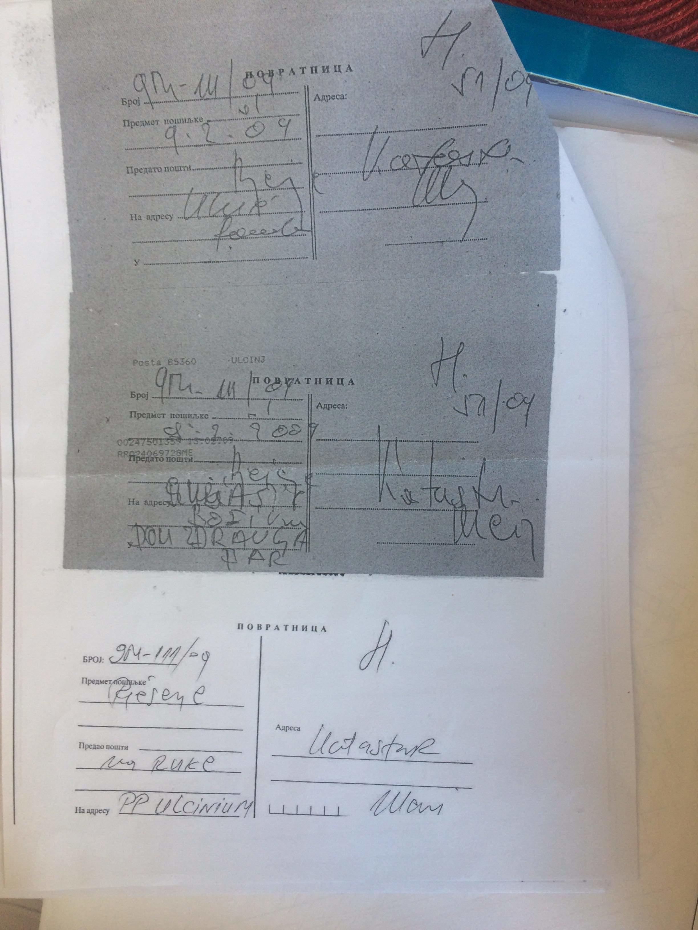 Na povratnici iz katastra isti potpisi primaoca i pošiljaoca