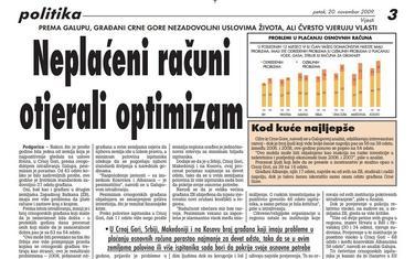 """Stranica """"Vijesti"""" od 20. novembra 2009."""