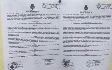 Obavještenje o sporazumu