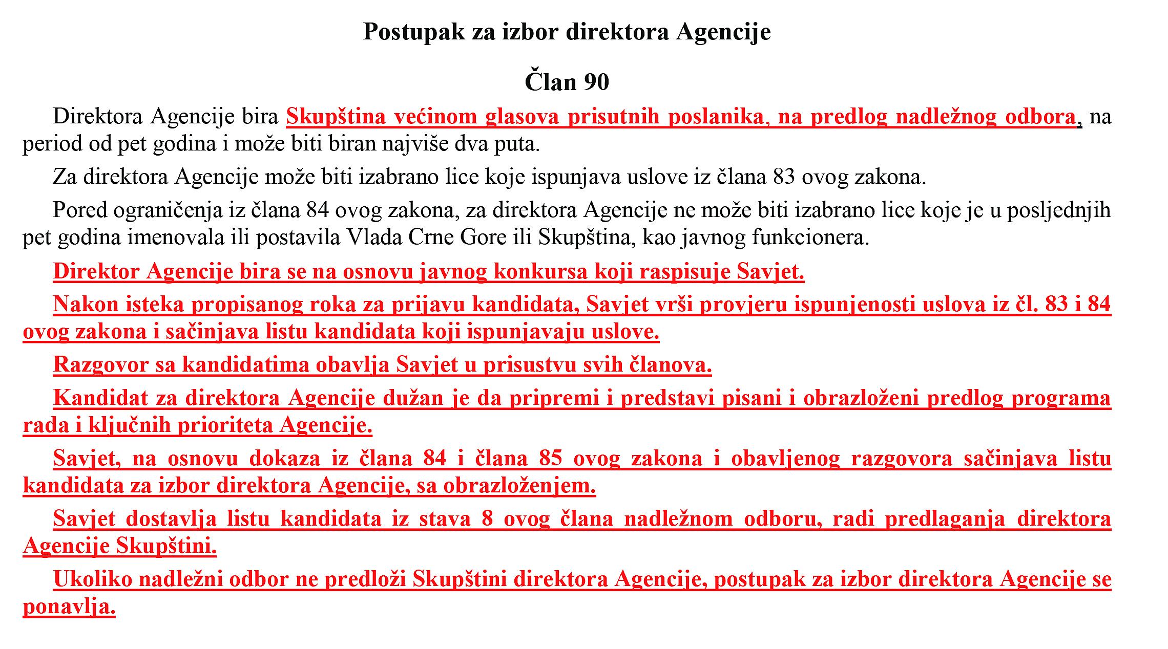 Postupak za izbor direktora Agencije