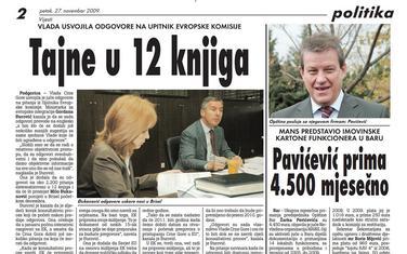 """Stranica """"Vijesti"""" od 27. novembra 2009."""
