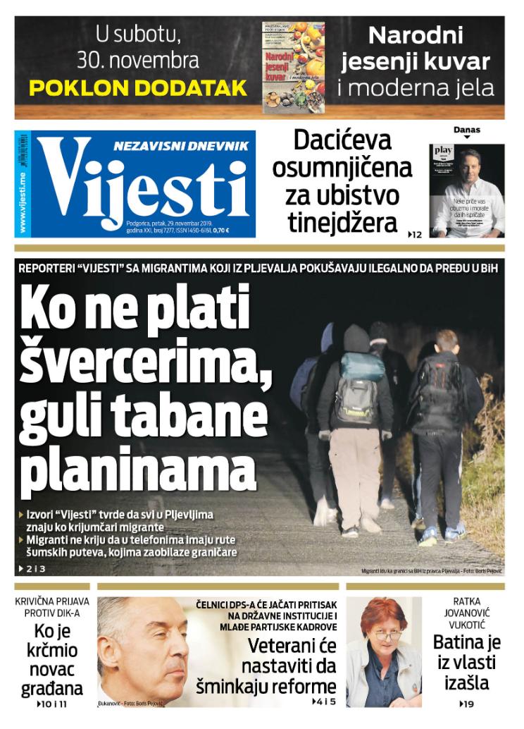 """Naslovna strana """"Vijesti"""" za 29. novembar 2019."""