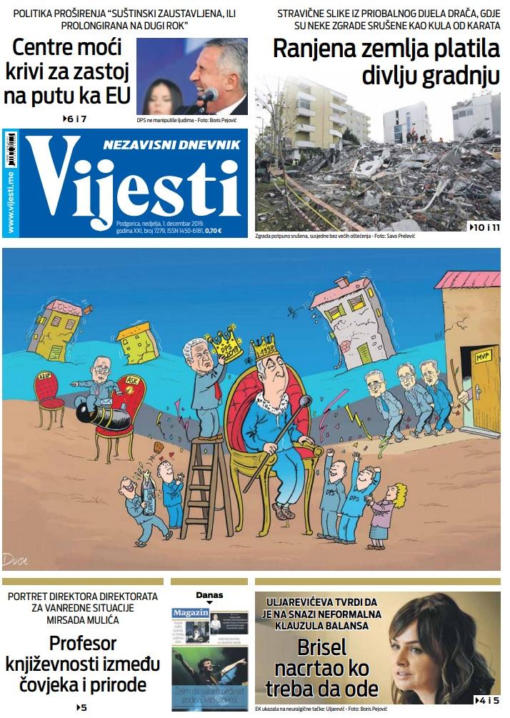 """Naslovna strana """"Vijesti"""" za 1. decembar 2019. godine"""