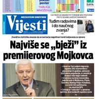 """Naslovna strana """"Vijesti"""" za 2. decembar 2019."""