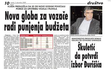 """Strana """"Vijesti"""" od 2. decembra 2009."""