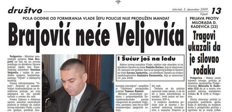 """Strana """"Vijesti"""" od 3. decembra 2009."""