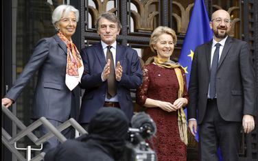 Lagard, Sasoli, Fon der Lajen i Mišel juče ispred Kuće evropske istorije u Briselu