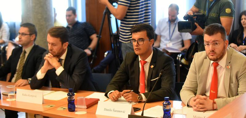 Sa jedne od prethodnih sjednica Odbora: Neđeljko Rudović, Raško Konjević, Danilo Šaranović i Momo Koprivica