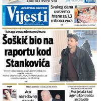 """Naslovna strana """"Vijesti"""" za 6. decembar 2019."""
