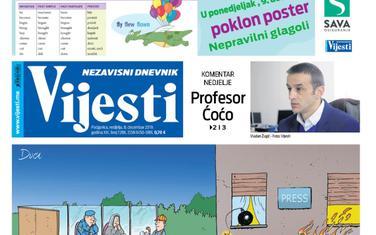 """Naslovna strana """"Vijesti"""" za 8. decembar"""