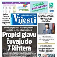 """Naslovna strana """"Vijesti"""" za 9. decembar"""