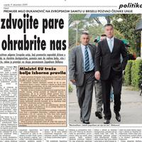 """Strana """"Vijesti"""" od 9. decembra 2009."""