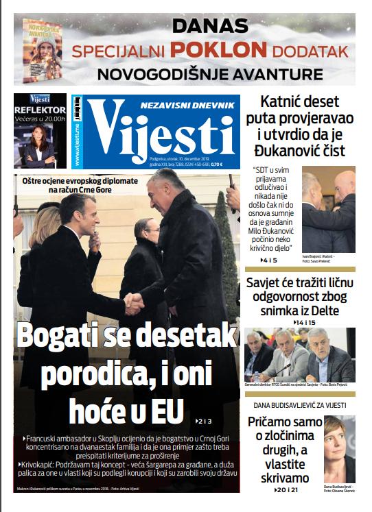 """Naslovna strana """"Vijesti"""" za 10. decembar"""