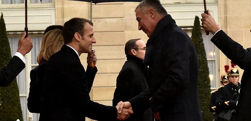 Makron i Đukanović prilikom susreta u Parizu u novembru 2018.