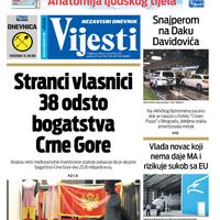 """Naslovna strana """"Vijesti"""" za 11. decembar 2019."""