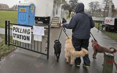 Glasač dolazi na glasačko mjesto sa psima