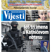 """Naslovna strana """"Vijesti"""" 13.12."""
