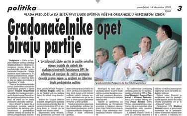 """Strana """"Vijesti"""" od 14. decembra 2009."""