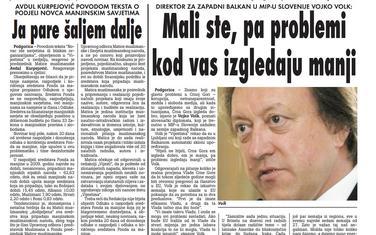 """Strana """"Vijesti"""" od 15. decembra 2009."""
