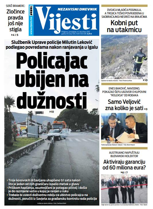 """Naslovna strana """"Vijesti"""" za 16. decembar"""