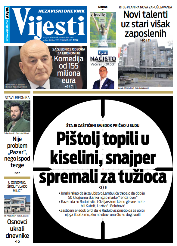 """Naslovna strana """"Vijesti"""" 19.12."""