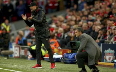 Jirgen Klop i Ernesto Valverde na utakmici Lige šampiona Liverpul - Barselona