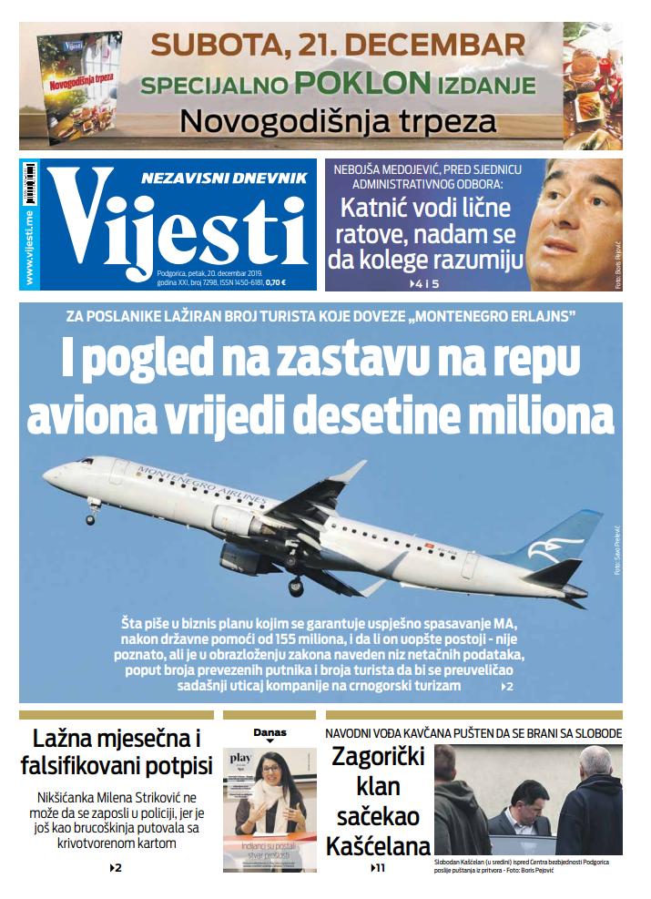 """Naslovna strana """"Vijesti"""" za 20. decembar 2019."""