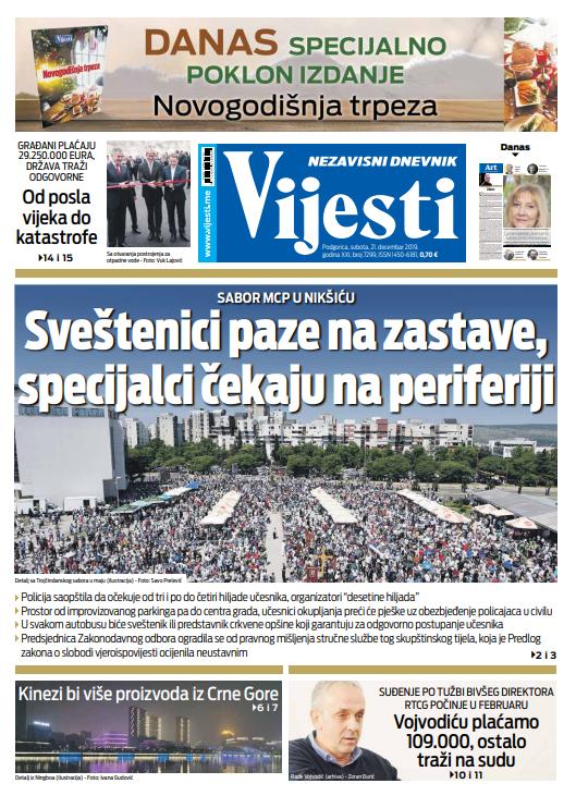 """Naslovna strana """"Vijesti"""" za 21. decembar 2019. godine"""