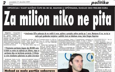 """Strana """"Vijesti"""" od 21. decembra 2009."""