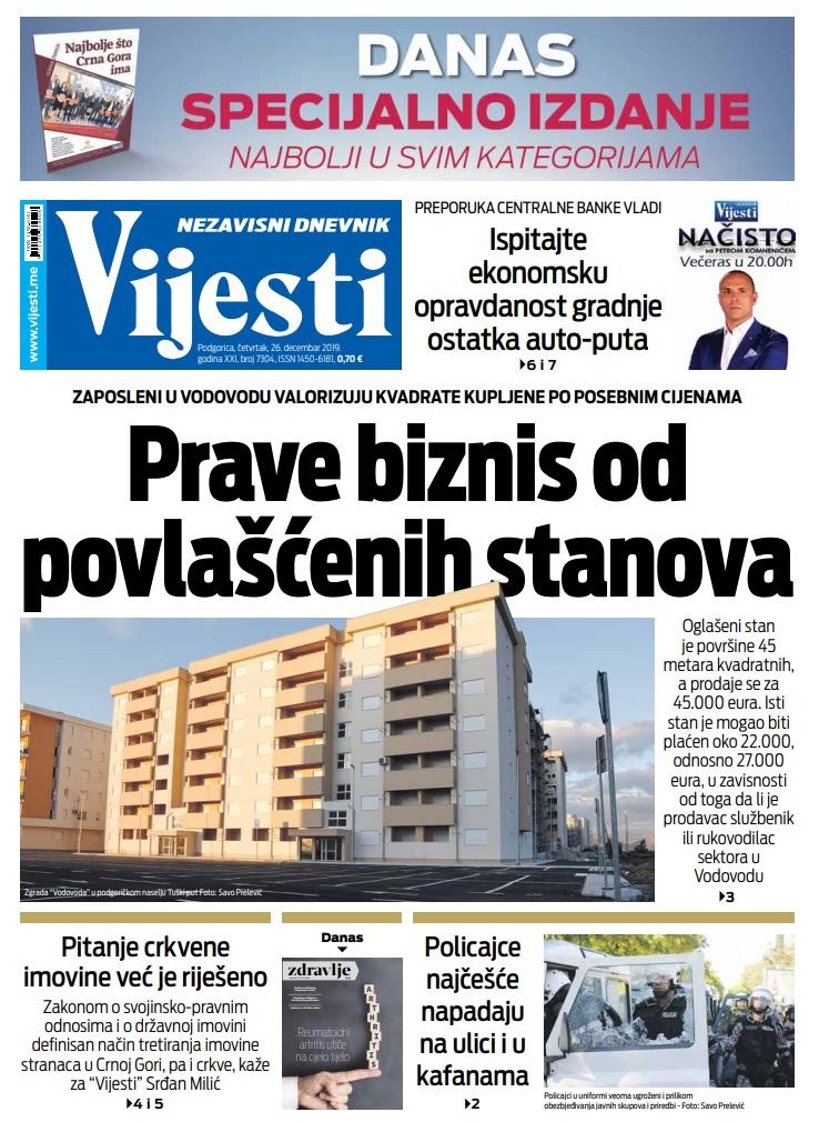 """Naslovna strana """"Vijesti"""" za 26. decembar 2019. godine"""