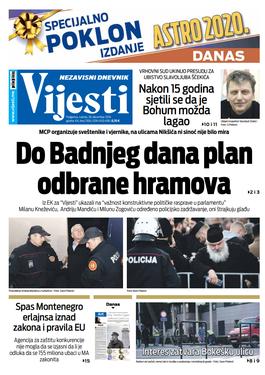 """Naslovna strana """"Vijesti"""" za. 28. decembar 2019."""