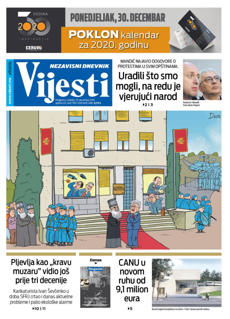 """Naslovna strana """"Vijesti"""" za. 29. decembar 2019."""