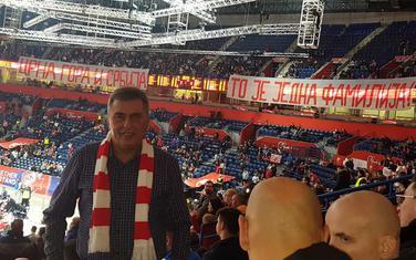 Milutin Đukanović na meču u Beogradu