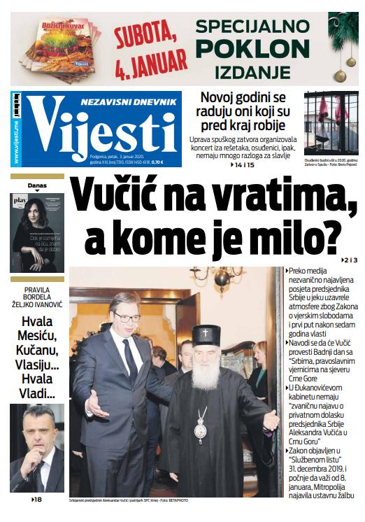 """Naslovna strana """"Vijesti"""" za treći januar"""