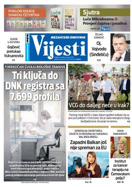 "Naslovna strana ""Vijesti"" za osmi januar"