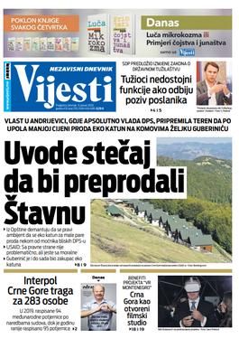 """Naslovna strana """"Vijesti"""" za deveti januar"""