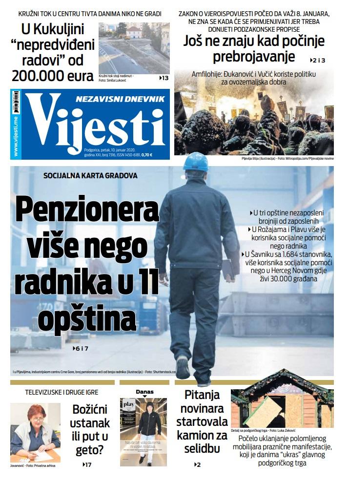"""Naslovna strana """"Vijesti"""" za 10. januar 2020."""